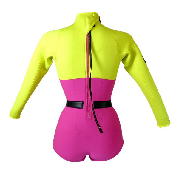 Alooppa Girl Power wetsuit - back image - yellow and purple