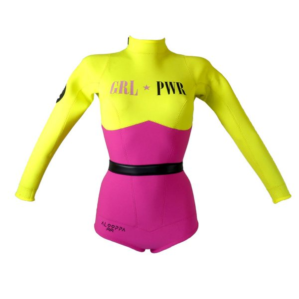 Alooppa Girl Power wetsuit - front image - yellow and purple