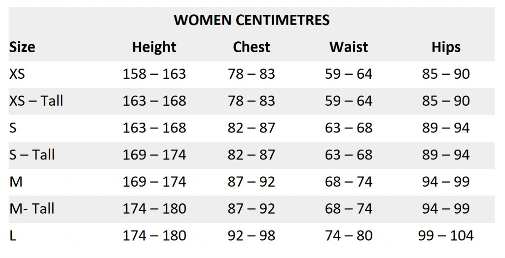 Women sizing chart - centimetres