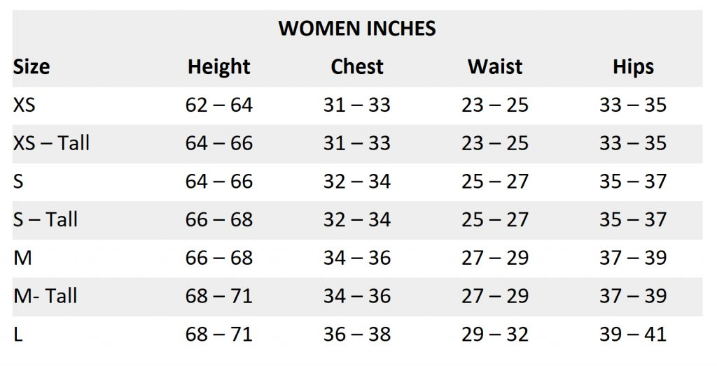 Women sizing chart - inches